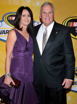 NASCAR Sprint Cup Series champion team owner Rick Hendrick with his wife Linda
