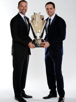 Four time NASCAR Sprint Cup Series Champion Jimmie Johnson and crew chief Chad Knaus pose with the Sprint Cup