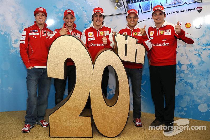 Nicky Hayden, Casey Stoner, Fernando Alonso, Felipe Massa et Giancarlo Fisichella