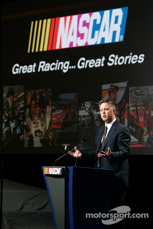 NASCAR voorzitter en CEO Brian France, 2010 NASCAR Sprint Media Tour