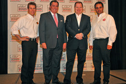 Earnhardt Ganassi team of Jamie McMurray, owners Felix Sabates and Chip Ganassi, and Juan Pablo Montoya