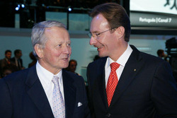 Mr. Wolfgang Porsche (left), and the new Porsche Board Member Michael Macht at the Volkswagen Press Conference