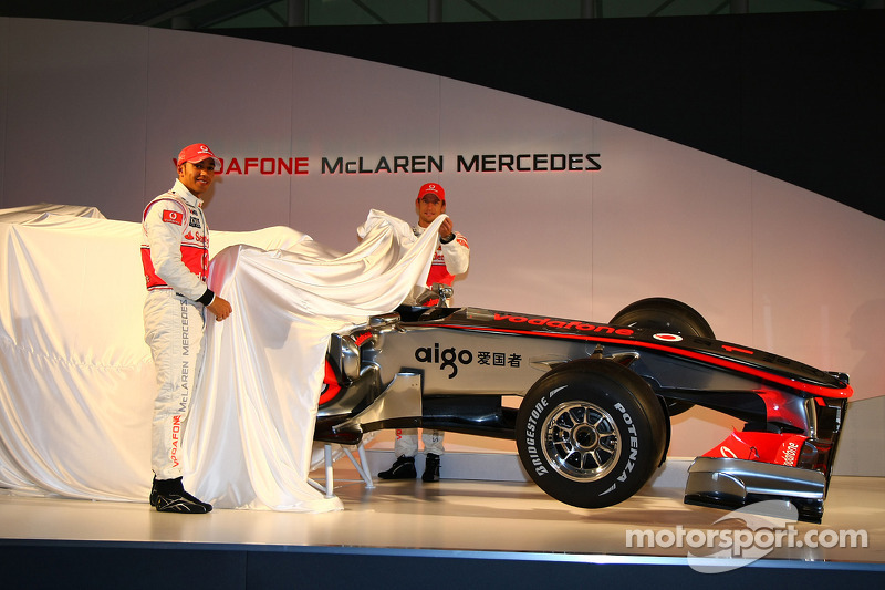 Lewis Hamilton, McLaren Mercedes and Jenson Button, unveil the McLaren Mercedes