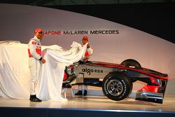 Lewis Hamilton, McLaren Mercedes and Jenson Button, unveil the McLaren Mercedes