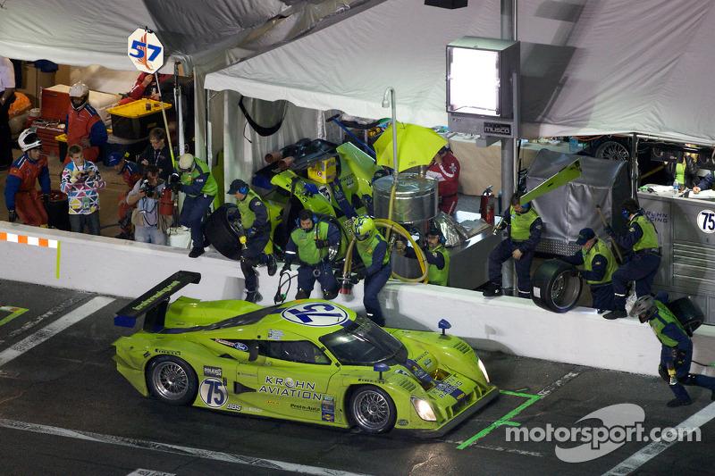 Arrêt aux stands pour #75 Krohn Racing Ford Lola: Colin Braun, Nic Jonsson, Tracy Krohn, Ricardo Zonta
