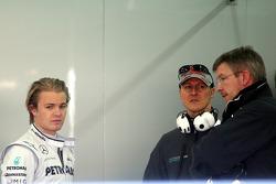 Nico Rosberg, Mercedes GP, Michael Schumacher, Mercedes GP, Ross Brawn Team Principal, Mercedes GP