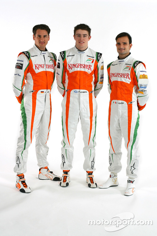 Adrian Sutil Force India F1 with Paul Di Resta Force India F1 Third Driver and Vitantonio Liuzzi Force India F1- Force India VJM03 studio shoot and Launch, Formula 1 Testing, Jerez, Spain