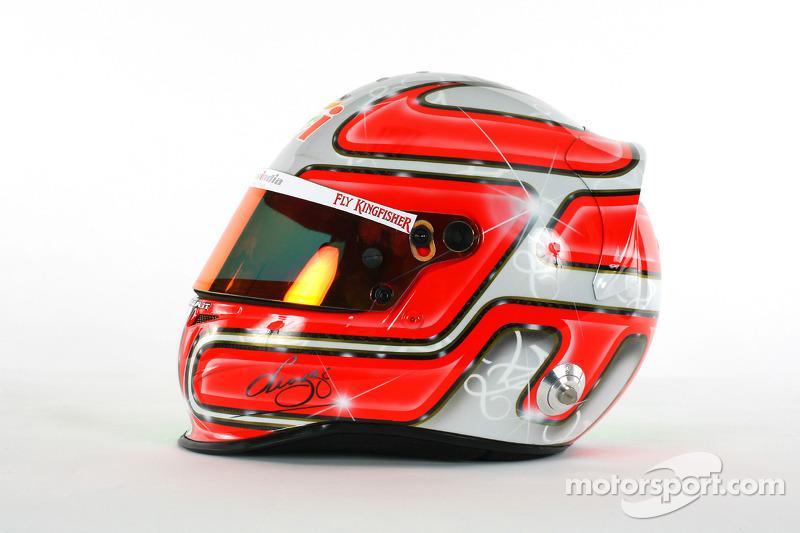The helmet of Vitantonio Liuzzi Force India F1