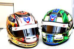 Timo Glock, Virgin Racing and Lucas di Grassi, Virgin Racing helmets