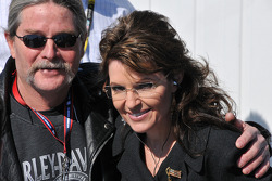 Governor of Alaska Sarah Palin with a fan