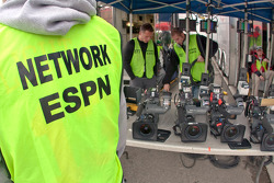 The ESPN Network crew make adjustments to their equipment before the start
