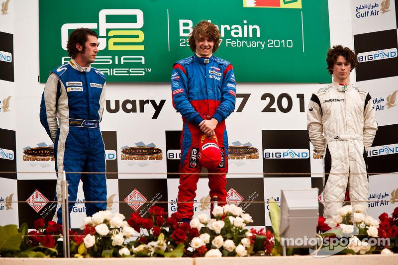 Charles Pic viert zijn overwinning op het podium met Giacomo Ricci en Javier Villa
