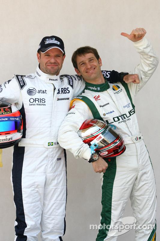 Rubens Barrichello, Williams F1 Team and Jarno Trulli, Lotus F1 Team