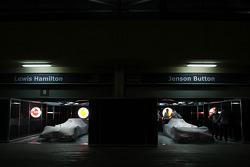 The McLaren Mercedes in the teams garage under Parc Ferme conditions