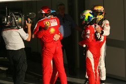 Race winner Fernando Alonso, Scuderia Ferrari celebrates with second place Felipe Massa, Scuderia Ferrari, Stefano Domenicali Ferrari General Director and third place Lewis Hamilton, McLaren Mercedes
