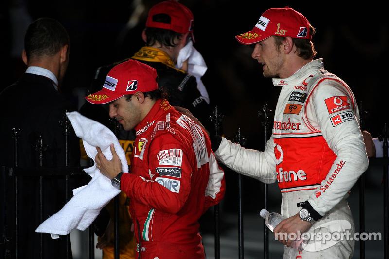 Race winner Jenson Button, McLaren Mercedes with third place Felipe Massa, Scuderia Ferrari