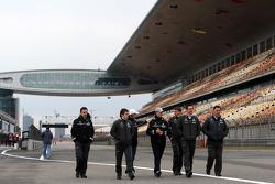 Michael Schumacher, Mercedes GP walk the circuit