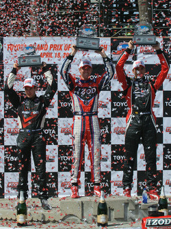 Ryan Hunter-Reay, Will Power and Justin Wilson on the podium