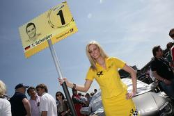 Grid girl of Timo Scheider, Audi Sport Team Abt Audi A4 DTM