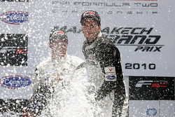 Podium: Second placed Dean Stoneman and race winner Philipp Eng celebrate with the Champagne
