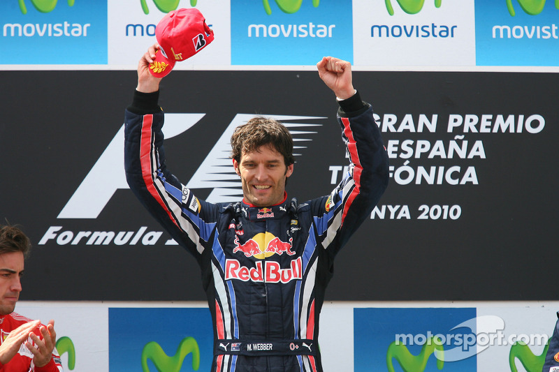 Podio: el ganador de la carrera, Mark Webber, Red Bull Racing