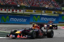 Mark Webber, Red Bull Racing leads Sebastian Vettel, Red Bull Racing