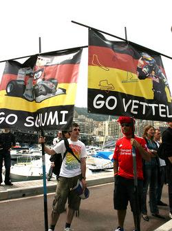 Michael Schumacher, Mercedes GP nd Sebastian Vettel, Red Bull Racing fans