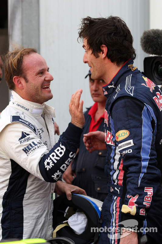 Mark Webber, Red Bull Racing en Rubens Barrichello, Williams F1 Team