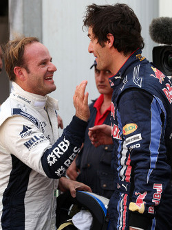Mark Webber, Red Bull Racing and Rubens Barrichello, Williams F1 Team