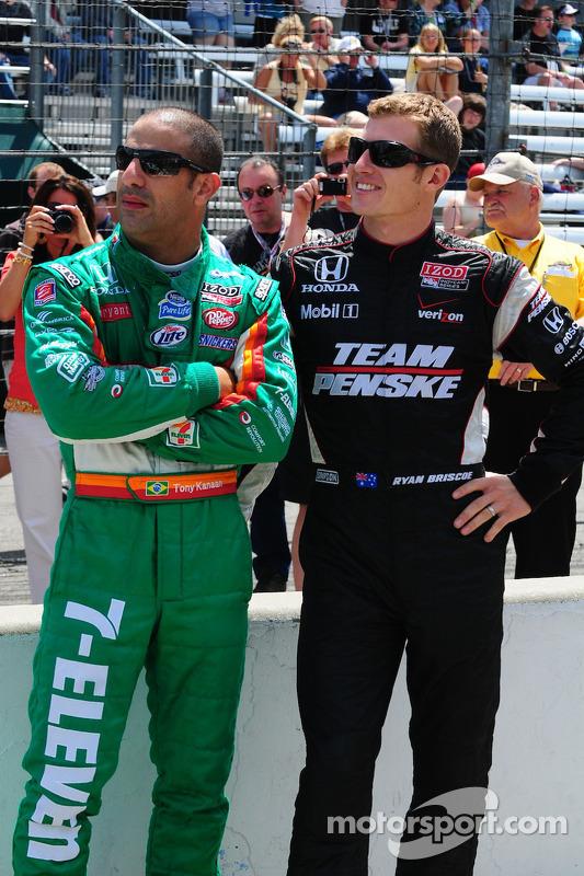 Tony Kanaan, Andretti Autosport en Ryan Briscoe, Team Penske