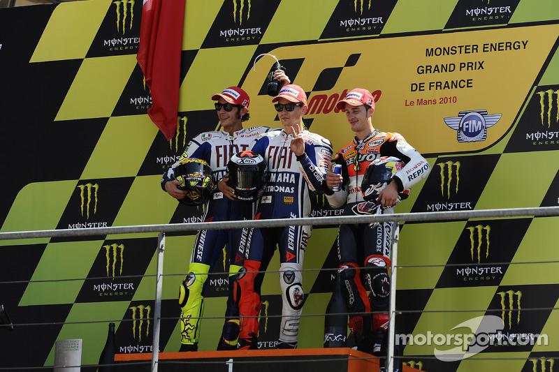 2010: Podio: 1. Jorge Lorenzo, 2. Valentino Rossi, 3. Andrea Dovizioso