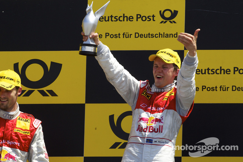 Podium: race winnaar Mattias Ekström, Audi Sport Team Abt