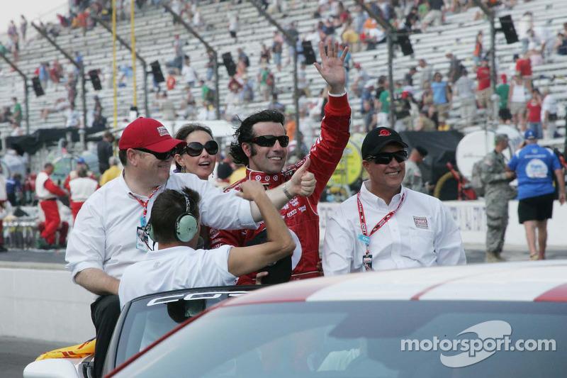 Chip Ganassi, Ashley Judd en Dario Franchitti, Target Chip Ganassi Racing vieren de overwinning van de 94th Indianapolis 500