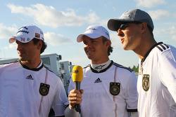 Adrian Sutil, Force India F1 Team, Nico Rosberg, Mercedes GP and Michael Schumacher, Mercedes GP