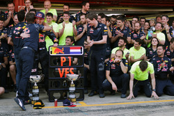 Race winner Max Verstappen, Red Bull Racing celebrates with Christian Horner, Red Bull Racing Team Principal and the team