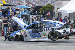 crashed car of Dale Earnhardt Jr., Hendrick Motorsports Chevrolet