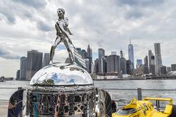 BorgWarner Trophy overlooking New York City