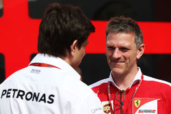 Toto Wolff, Mercedes AMG F1 Shareholder and Executive Director with James Allison, Ferrari Chassis Technical Director