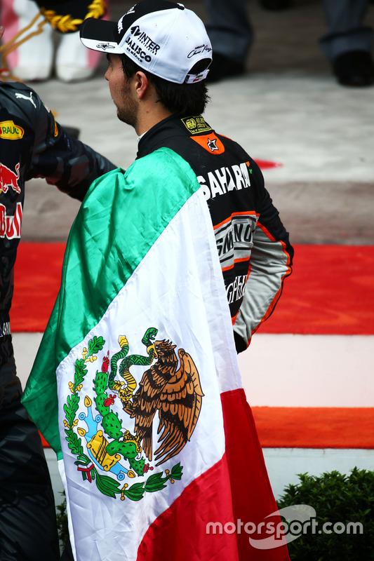 Sergio Pérez, Sahara Force India F1 en el podio