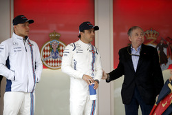 Valtteri Bottas, Williams, and Felipe Massa, Williams, with Jean Todt, President, FIA