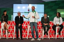 (L to R): Stephanie Sigman, actress; Bernie Ecclestone; Gianluca di Tondo, Heineken Global Head of Brand; Jackie Stewart; and Carles Puyol, former football player, at a Heineken sponsorship announcement