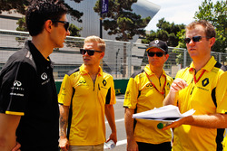 Esteban Ocon, Renault Sport F1 Team Test Driver and Kevin Magnussen, Renault Sport F1 Team walk the circuit with the team