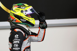 Sergio Perez, Sahara Force India F1 celebrates his third position in parc ferme