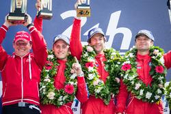 LMGT Am podium: class winners #62 Scuderia Corsa Ferrari 458 Italia: Bill Sweedler, Jeff Segal, Townsend Bell