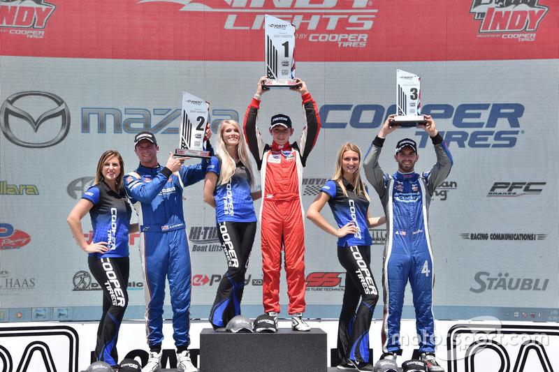 Podio: segundo lugar Dean Stoneman, Andretti Autosport, ganador de la carrera Zach Veach, Belardi Auto Racing, tercer lugar Felix Serralles, Carlin
