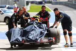 The Red Bull Racing RB12 of Max Verstappen, Red Bull Racing is recovered back to the pits in the first practice session