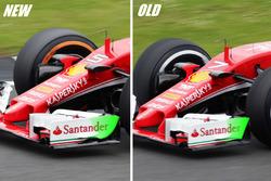 Ferrari SF16-H, confronto della paratia dell'ala anteriore