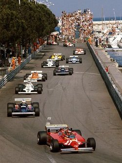 Gilles Villeneuve leads at the Monaco GP in 1981