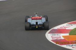Hamilton tackling turn 1 at the BIC