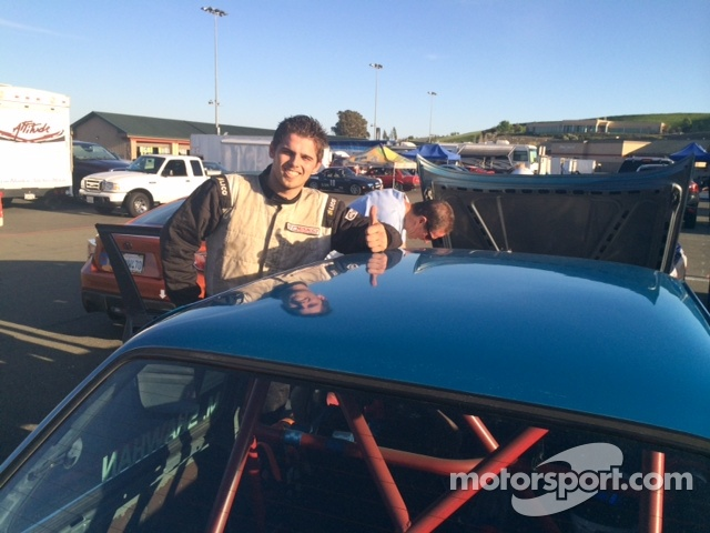 Michael Shawhan gives a thumbs up after winning Saturday's Race #1